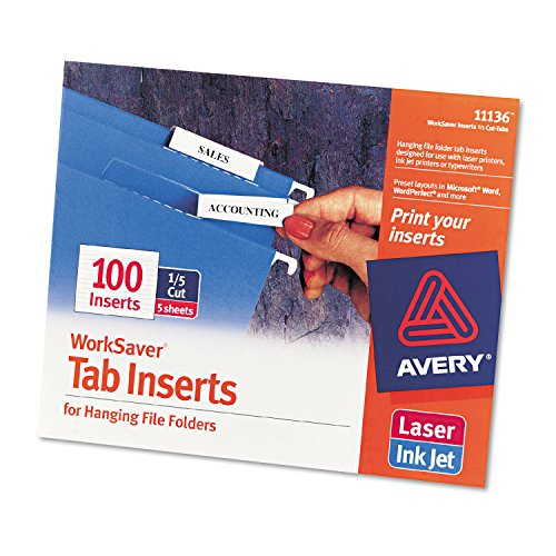 Avery 11136 Printable Inserts for Hanging File Folders, 1/5 Tab, Two, White, 100/Pack