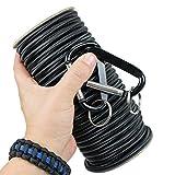 Cordón elástico–Marine Grade, con 2mosquetones 1/8', 3/16', 1/4'EN 25/50/100ft. Carretes. 6colores, Made in Usa- cuerda elástica, elástica y cordón elástico para, Negro