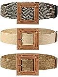 3 Piezas Cinturones de Cintura Elástico de Tejido de Paja Cinturón de Vestido Ajustado Trenzado con Hebilla de Color Madera para Mujer