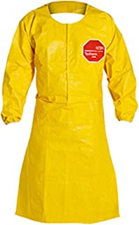 DuPont Tychem QC Yellow Apron With Long Sleeves Open Back Elastic Wrists And Waist Tie With Snap Neck