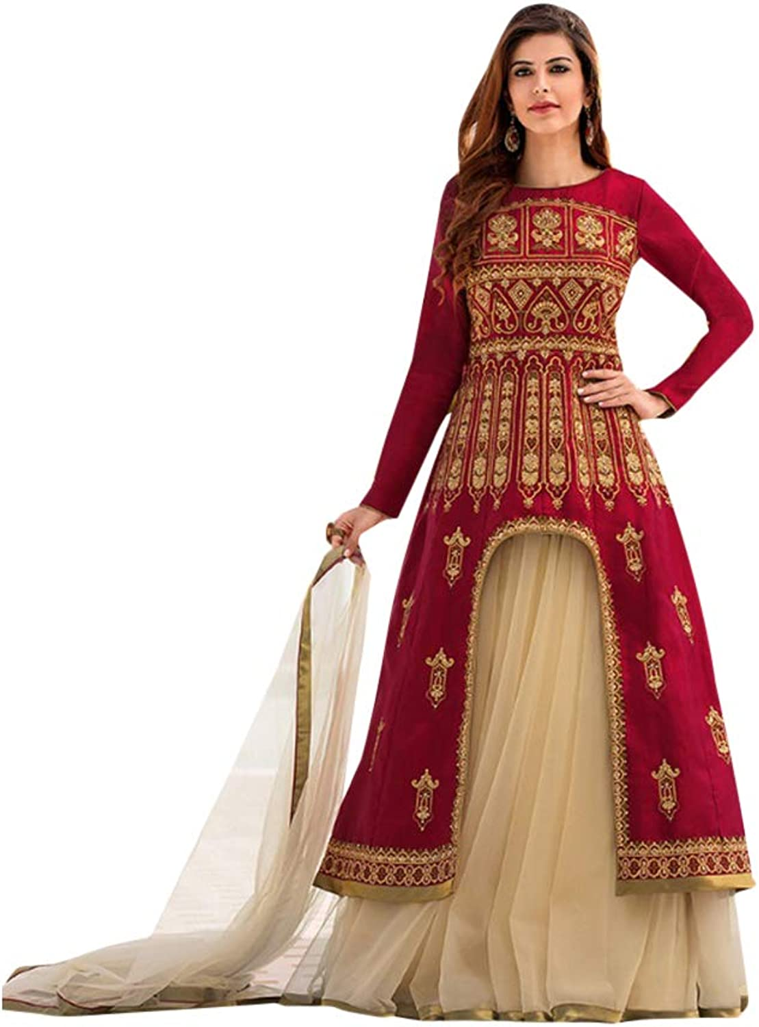 Designer Front Split Tafeta Silk Skirt style Anarkali Suit for Women Trendy Indian Party dress 7569