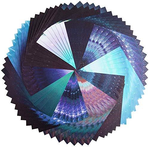 Hileyu Origami Papier Set, 70 Blätt Schöne Himmel Faltpapier Origami-Papier Bastelpapier für Rose, Blumen, Flugzeuge, Herzen, Kinder Kunst und DIY Handwerk, DIY Handwerk Origami Papier-15x15cm