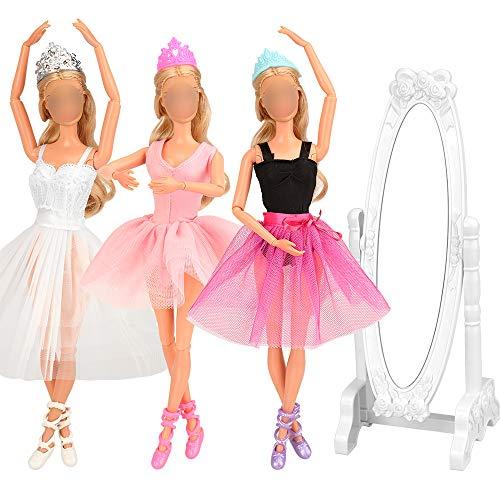 Miunana 10 Accesorios para 11.5 Pulgadas 28 - 30 CM Muñecas: 3 Ropas Vestidos De La Bailarina (Blanco + Rosa + Púrpura Negro) + 3 PCS Zapatos De La Bailarina + 3 Coronas De Princesa + Espejo
