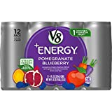V8 +Energy, Juice Drink with Green Tea, Pomegranate Blueberry, 8 Fl Oz Can, Pack of 12