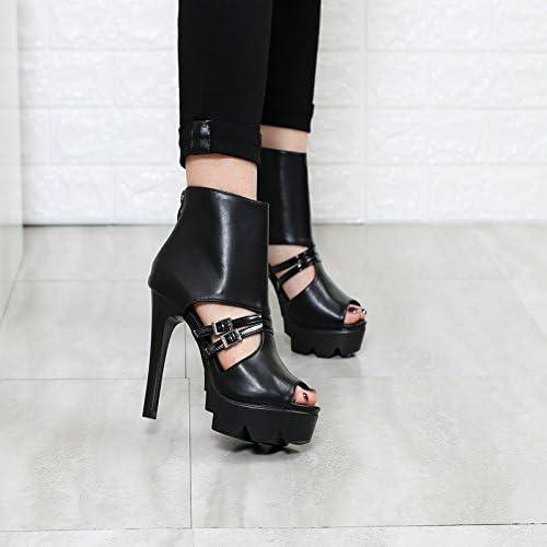 Khskx-fish boca fría corte corto botas con una multa vacío hueca hebilla zapatos negro Martin portátil impermeable zapatos