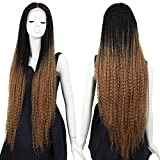 NOBLE GIRL Dreadlock Wig Lace Front 38 Inch Long Ombre Brown Wig Synthetic Marley Braids Colorful Wigs Afro Kinky Cosplay Costume Halloween Wig for Black Women