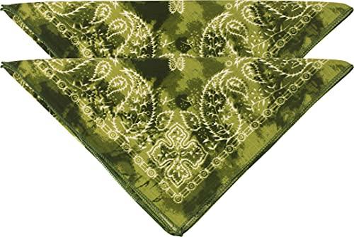fashionchimp Pañuelo Nicki de 100% algodón en un juego de 2 bandanas unisex, sin azoico Batik Oliva Talla única ⭐