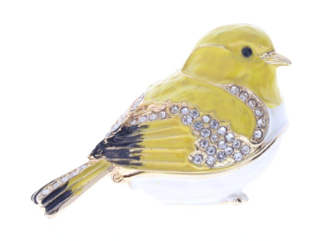 Image of Goldfinch Bird Jeweled Hinged Box