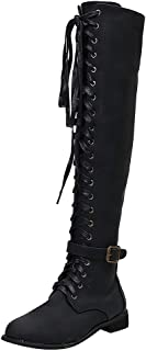 〓COOlCCI〓Women's Pu Knee High Riding Combat Boots,Low Heel Riding Boots Lace Up Buckle Knee High Military Boots Winter