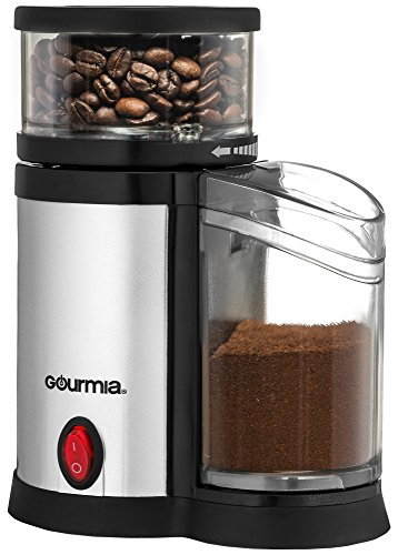 Gourmia GCG165 Compact Electric Burr Coffee Grinder - Adjustable Coarse Grind Size – Sleek and Compact – Easy to Use – Great Gift Idea – ETL Approved