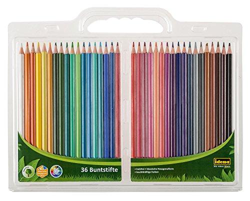 Idena 10060 - Buntstifte, klassische Hexagonalform, 36 verschiedene Farben, 1 Set