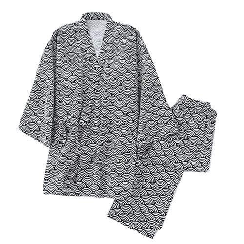 Los hombres del estilo japonés delgados pijamas de algodón albornoz Kimono Home traje traje, Y03