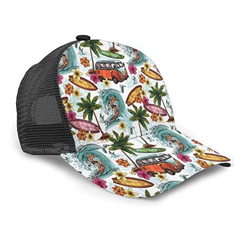 Gorra de béisbol unisex hawaiana surfista mar palmeras retro 3D impreso ajustable Caps Hip Hop Snapback Brim Sombreros Negro