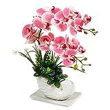 RENATUHOM Orquídea artificial artificial con florero de cerámica blanca, plantas artificiales de orquídeas artificiales para decoración del hogar, oficina, mesa, centros de mesa y fiestas