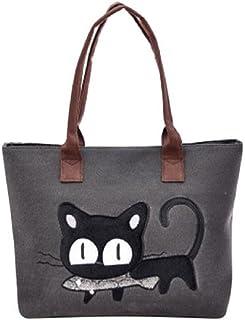 TIFIY Damen Mädchen Niedlich Karikatur Muster Katze Isst Fisch Crossbody Schultertasche Handtasche Schulranzen Einkaufstasche Dunkelgrau