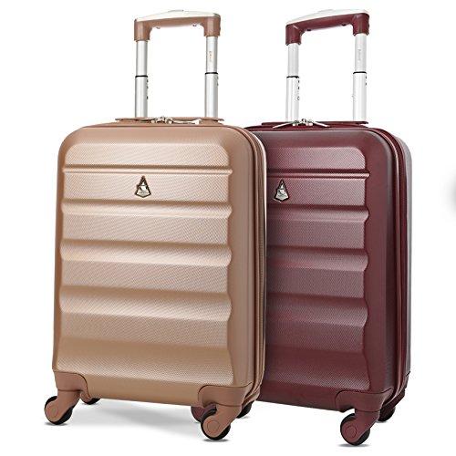 Aerolite Leichter ABS Hartschale 4 Rollen Handgepäck Trolley Koffer Bordgepäck Reisekoffer für Ryanair, Lufthansa und mehr, Roségold + Weinrot