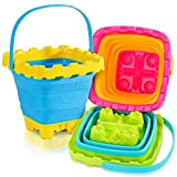 Shindel 2.7L Collapsible Sand Bucket, 3PCS Foldable Pail Buckets Silicone Collapsible Buckets, Kids Sand Beach Bucket, Sand Toys