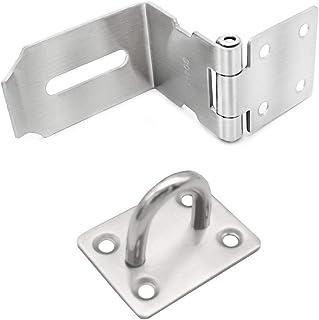 Mila-Amaz 90 graden overval voor hangslot, veiligheidsslot, deurbeslag met schroeven, zilver