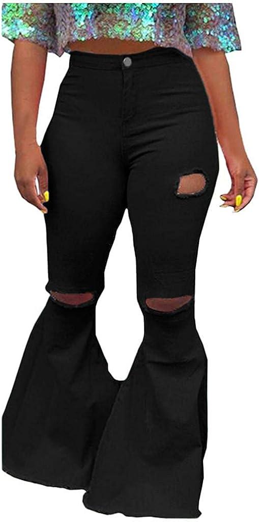 WUAI-Women Ripped Bell Bottoms Jeans Classic High Waist Bootcut Flared Denim Pants Plus Size S-3XL