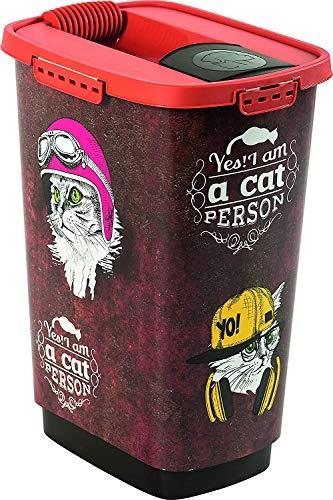 Rotho Cody, Recipiente de comida para mascotas de 25 litros con tapa y vertedor, Plástico PP sin BPA, marrón, naranja, 25l 33.0 x 25.0 x 46.3 cm ⭐