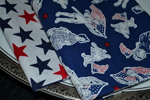 Patriotic Kids and Stars Reversible Cloth Napkins/Set of 4