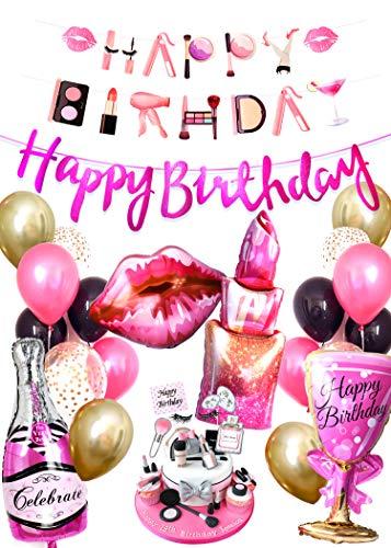 Regendeko Happy Birthday Lady Prost Damen Mode Set Mädchen Geburtstagsdeko Champagner Flasche sternförmige Folienballon Luftballons Geburtstag Girlande für Geburtstag Urlaub Hochzeit Party Dekoration