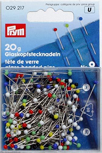 Prym 029217 Glaskopfnadeln, 0,60 x 30mm, bunt, 20g, Karte mit Dose
