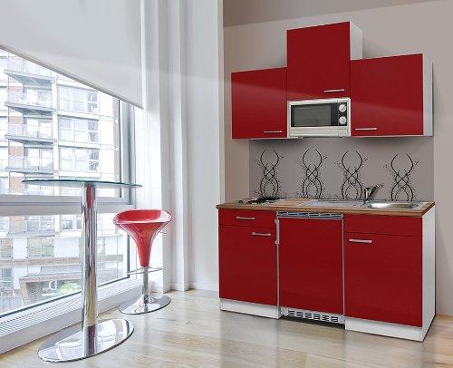respekta KB150WRMIC Bloc de cuisine pour une seule cuisine 150 cm Blanc/rouge Avec APL Butcher Noyer Micro-ondes Céramiques