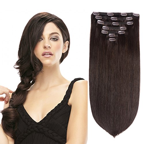 BHF HAIR Remy Human Hair Clip-in Extensions, Dark Brown