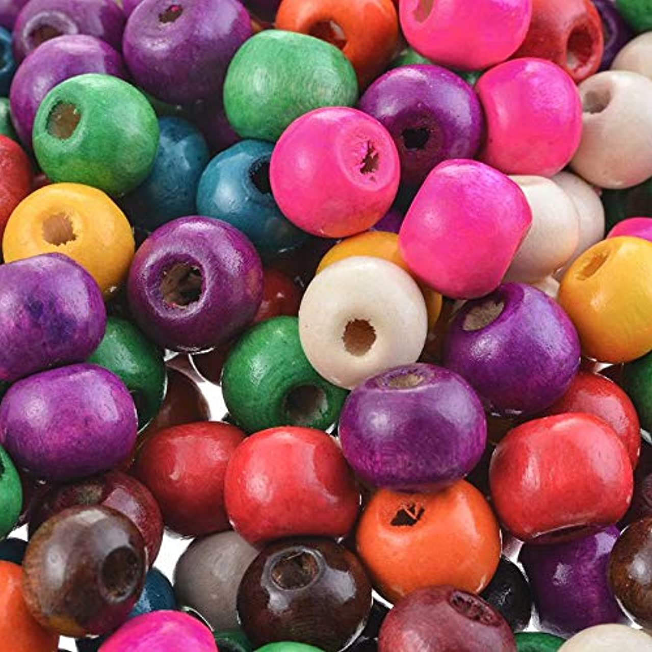 Souarts 6mm 8mm Pack of 500pcs Ball Shape Wood Loose Beads (Colorful, 8mm)