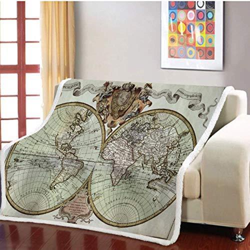 Mapa Sherpa Fluff Manta cálida Manta de tiro de lana Regalo de vacaciones Ropa de cama de microfibra 3D Colcha Dormitorio Siesta Manta de oficina 150 * 200cm