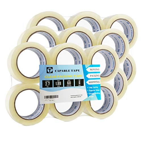 CAPABLE TAPE Clear Packing Tape (18 Rolls), Heavy Duty Packaging Tape for Shipping Packaging Moving Sealing, Stronger & Thicker 2.7mil, 1.88 inches Wide, 60 Yards per Roll, 1080 Total Yards