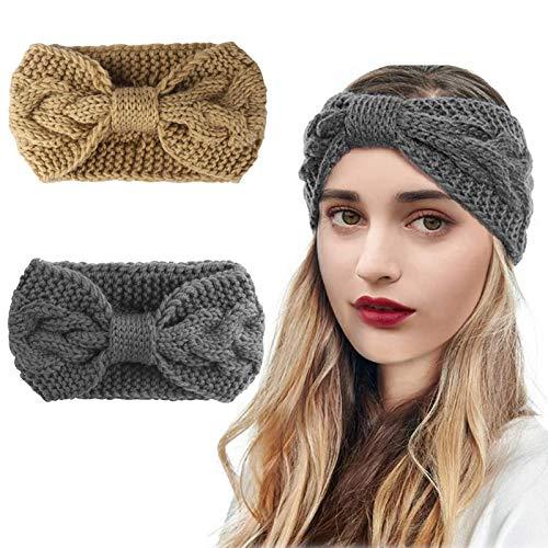 2 Piezas Diademas de Invierno para Mujer, Diadema de Punto de Inviern, Elástico Caliente Crochet Knit Bow Knot Cinta de Cabeza Accesorio Pelo para Mujer Niñas (Gris y Amarillo)