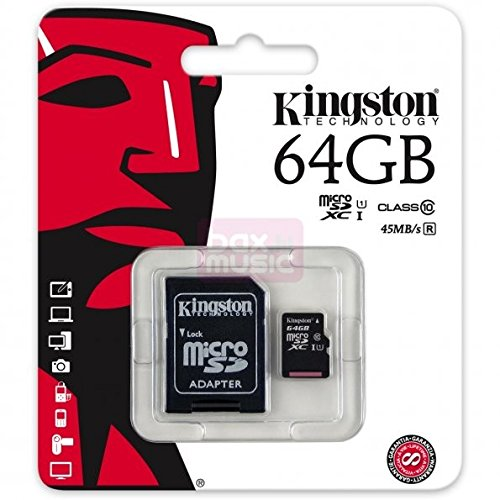MicroSD-kaart, SDxC, 64 GB, klasse 10, UHS 1 + adapter voor GoPro Hero 3 White Edition