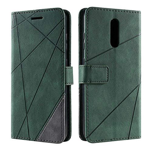 Hülle für Nokia 3.2, SONWO Premium Leder PU Handyhülle Flip Hülle Wallet Silikon Bumper Schutzhülle Klapphülle für Nokia 3.2, Grün