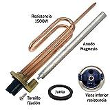 Resistencia curva termo eléctrico flange 1500W + Anodo magnesio + junta goma + Tornillo fijación. Kit recambio calentador de agua compatible con Cointra, Thermor, Junkers, Fleck, Ariston, Aparici.