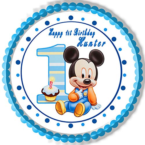 """BABY MICKEY MOUSE 1st Birthday - Edible Cake Topper - 6"""" round"""