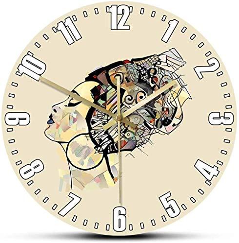 Reloj De Pared Retrato De Mujer Africana con Sombrero Pintura De Belleza Negra Reloj De Pared con Impresión Artística Afro Decoración para El Hogar Reloj De Pared Silencioso No Molestar 30X30Cm