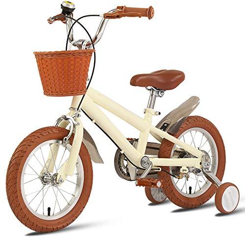 DREAMyun Bicicleta de Niño niña 3-9 años 12 14 16 18 Pulgadas Ruedas auxiliares con Frenos, Bicicletas Infantiles Bicicleta para niños,Beige,18'