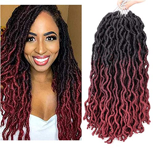 18 Inch Gypsy Locs Crochet Hair 6 Packs Soft Wavy Gypsy Locs Ombre Colors Goddess Locs Crochet Braids African Roots Nu Faux locs Boho Locs Dreadlock Crochet Hair for Black Women (18', 1B/99J/530)