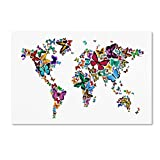 Butterflies Map of The World Artwork by Michael Tompsett, 12 by 19-Inch Canvas Wall Art