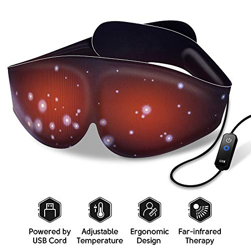 Heated Eye Mask - Eye Mask with 3 Heat Settings, Eye Heating Pad for Puffy Eyes, Electric Heated Eye Mask with Auto Shut Off Protection, Graphene Heating Film, Far-Infrared Therapy, USB Cord, Black