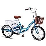 OHHG Triciclo Adultos Bicicleta Tres Ruedas Triciclos Bajos Paso Adultos Cesta Carga recreación Compras Ejercicio Bicicleta Hombres Mujeres