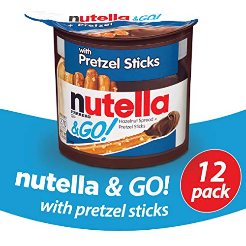 Nutella and Go Snack Packs, Chocolate Hazelnut Spread with Pretzel Sticks, Perfect Bulk Snacks for Kids' Lunch Boxes, 1.9 Ounce, Pack of 12