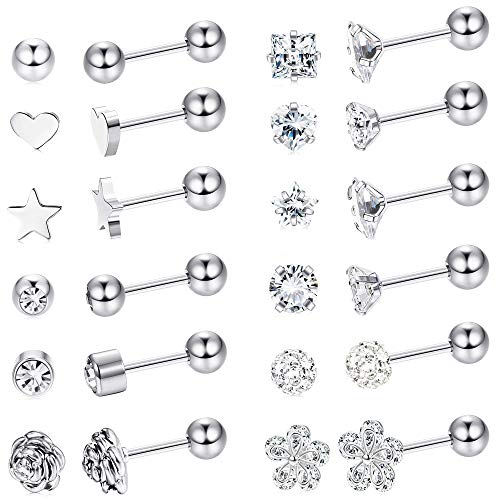 Milacolato 12 Pairs Edelstahl Ball Ohrstecker Set Barbell Knorpel Helix Ohr Piercing 4mm