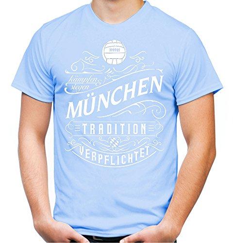 Mein Leben München Männer und Herren T-Shirt   Fussball Ultras Geschenk   M1 Front (L, Skyblau)