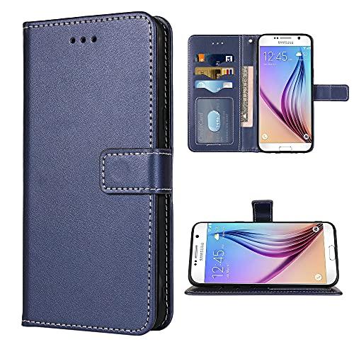 FDCWTSH Kompatibel mit Samsung Galaxy S6 Active Wallet Hülle & Handschlaufe Lanyard Leder Flip Cover Kartenhalter Ständer Handy Hüllen für Glaxay S6Active 6s S 6 6Active G890A Blau