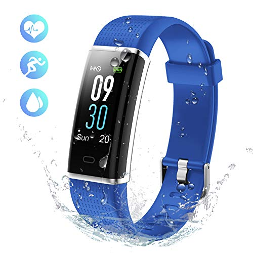 KALINCO Aktivitätstracker Fitness Armband mit Pulsmesser 0,96 Zoll Farbbildschirm Fitness Tracker Pulsuhren Schrittzähler Schlafmonitor für Damen Herren 14 Trainingsmodi (Blau1)