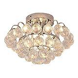 HOMCOM Lámpara de Techo de Cristal Moderna Lámpara de Araña Gotas de Lluvia para Bombillas G9 Máx. 25W para Dormitorio Sala de Estar Pasillo Ø30x20 cm Plateado