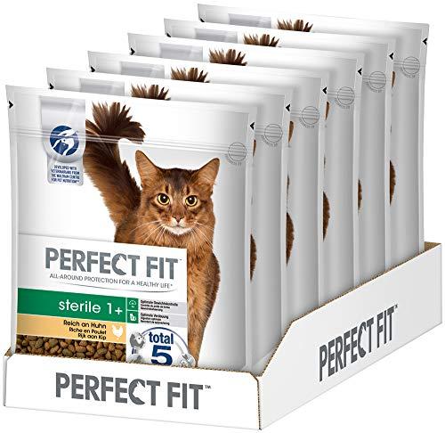PERFECT FIT Katzenfutter Trockenfutter Pro-Sterile für sterilisierte/kastrierte Katzen Adult 1+ Reich an Huhn, 6 Beutel (6 x 750g), 4500 g
